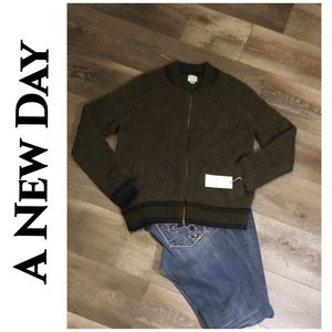 A New Day Women's Wool Blend Bomber Jacket Sweater